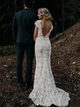 Charming Mermaid Lace Ivory Cap Sleeves Wedding Dresses, Bridal Dresses VB5502