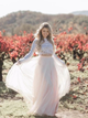 Lace Two Piece Long Sleeve Wedding Dresses Blush Pink Beach Wedding Dress VB5504