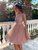 Sequins Long Sleeve Homecoming Dress A Line Cheap Short Prom Drsess VB5511