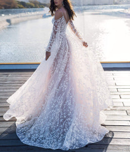 White A-Line Bohemian Wedding Dress For Bride V Neck Long Sleeve Wedding Dress VB5513