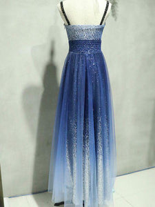 A-line Straps Floor-length Sleeveless Tulle Prom Dress/Evening Dress # VB552