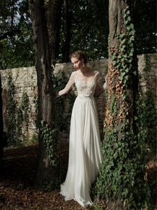 A-line Scoop Floor-length Long Sleeve Chiffon Wedding Dress # VB572