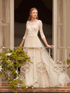 A-line Bateau Floor-length 3/4-Length Tulle Wedding Dress # VB573