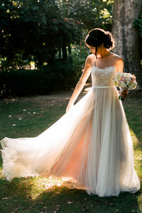 A-line Bateau Sweep/Brush Train Sleeveless Tulle Wedding Dress # VB587
