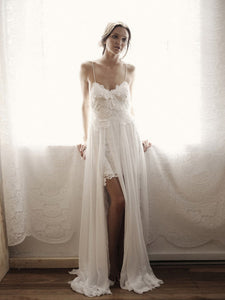 A-line Spaghetti Straps Asymmetrical Sleeveless Chiffon Wedding Dress # VB590