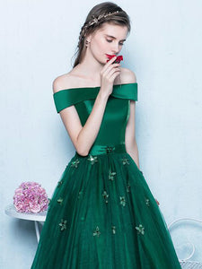 A-line Off-the-shoulder Floor-length Short Tulle Prom Dress/Evening Dress # VB600