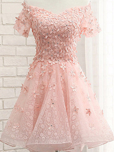A-line Off-the-shoulder Short/Mini Short Tulle Homecoming Dress/Short Dress # VB613