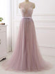 A-line Scoop Floor-length Sleeveless Tulle Prom Dress/Evening Dress # VB614