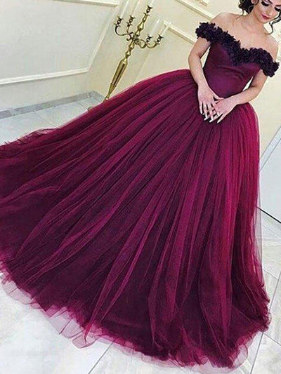 Ball Gown Prom Dress Modest Burgundy Off The Shoulder Long Prom Dress #VB622