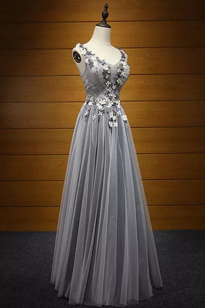 A-line Scoop Floor-length Sleeveless Tulle Prom Dress/Evening Dress # VB864