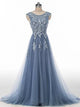 A-line Scoop Floor-length Sleeveless Tulle Prom Dress/Evening Dress # VB865
