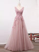 A-line V-neck Floor-length Sleeveless Tulle Prom Dress/Evening Dress # VB867