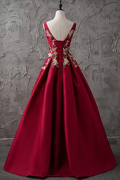 A-line Bateau Floor-length Sleeveless Satin Prom Dress/Evening Dress # VB871