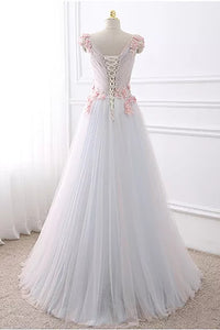 A-line V-neck Floor-length Sleeveless Tulle Prom Dress/Evening Dress # VB872