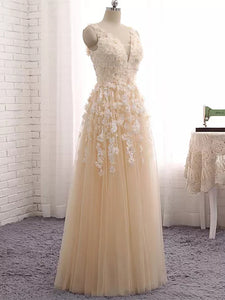 A-line Straps Floor-length Sleeveless Tulle Prom Dress/Evening Dress # VB878