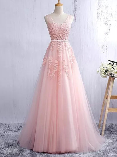 A-line Straps Floor-length Sleeveless Tulle Prom Dress/Evening Dress # VB883