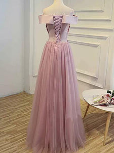 A-line Off-the-shoulder Floor-length Short Tulle Prom Dress/Evening Dress # VB885
