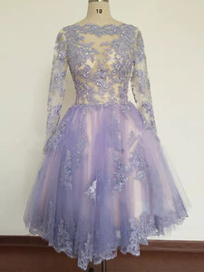 A-line Bateau Knee-length Long Sleeve Tulle Homecoming Dress/Short Dress # VB897