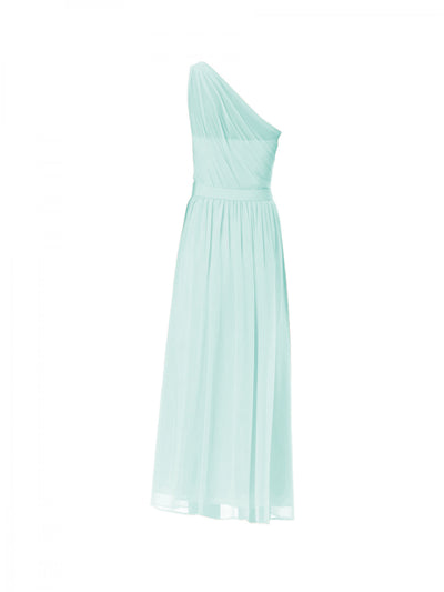 A-line One Shoulder Floor-length Sleeveless Chiffon Bridesmaid Dresses # VB901