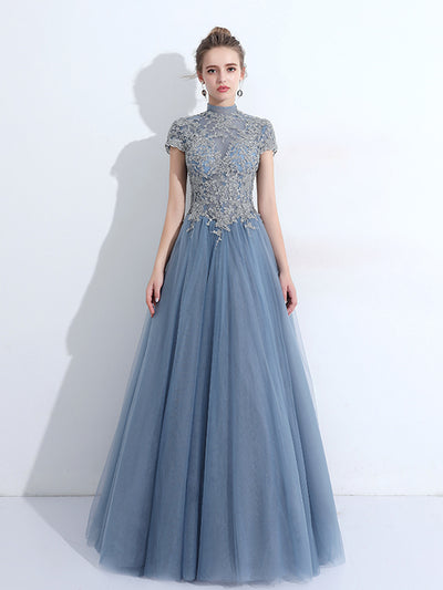 A-line High Neck Floor-length Short Tulle Prom Dress/Evening Dress # VB902