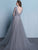 A-line Scoop Floor-length Long Sleeve Tulle Prom Dress/Evening Dress # VB903