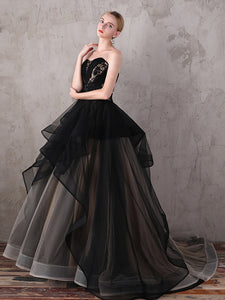 A-line Strapless Sweep/Brush Train Sleeveless Tulle Prom Dress/Evening Dress # VB904
