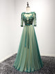A-line Bateau Floor-length 3/4-Length Tulle Prom Dress/Evening Dress # VB910