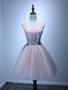 A-line V-neck Short/Mini Sleeveless Tulle Homecoming Dress/Short Dress # VB915