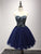 A-line Strapless Short/Mini Sleeveless Tulle Homecoming Dress/Short Dress # VB920