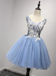 A-line Straps Short/Mini Sleeveless Tulle Homecoming Dress/Short Dress # VB921