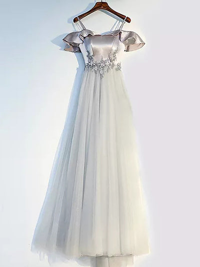 A-line Off-the-shoulder Floor-length Short Tulle Prom Dress/Evening Dress # VB940