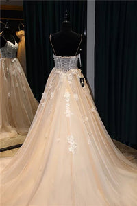 Sexy Prom Dress Spaghetti Straps Brush Train Appliques Beading Prom Dress/Evening Dress # VB946
