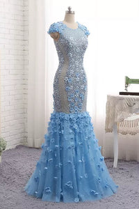 Sheath/Column Prom Dress Appliques Floor-length Rhinestone Sexy Prom Dress # VB948