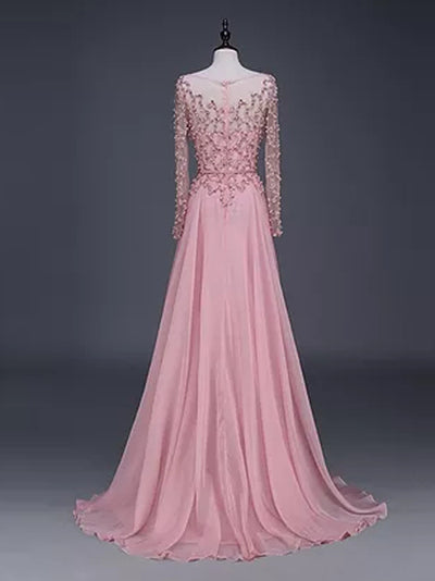 A-line Bateau Floor-length Long Sleeve Chiffon Prom Dress/Evening Dress # VB953