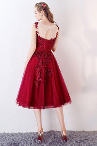 Chic Homecoming Dress A-line Knee-length Red Lace Cheap Homecoming Dress # VB960