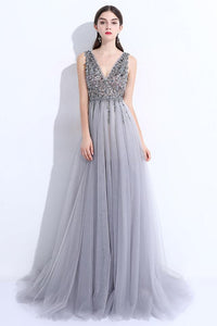 2018 Long Prom Dress A-line Custom Made Unique Cheap Silver Prom Dress # VB964 - DemiDress.com