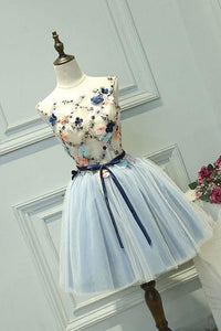 A-line Bateau Short/Mini Sleeveless Tulle Homecoming Dress/Short Dress # VB984