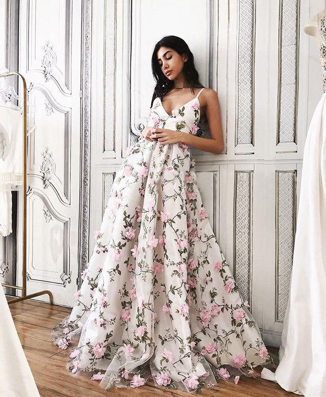 2018 Floral Pink Prom Dress Lace Long Prom Dress #VB2157