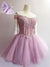 Lilac A-line Short Prom Dress Off-the-shoulder Juniors Homecoming Dress kmy091