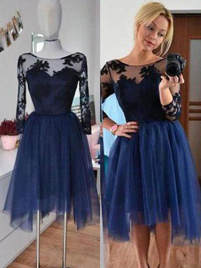 A-line Prom Dress Long Sleeve Homecoming Dress Short/Mini Prom Drsess Juniors kmy165