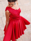 Red Homecoming Dress Short Prom Drsess One Shouder Homecoming Dresses kmy345