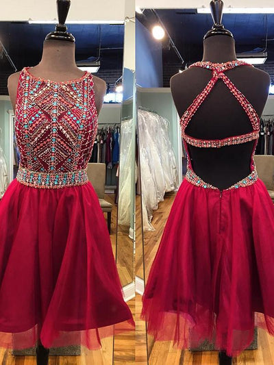 A-line Homecoming Dress Short Prom Drsess Scoop Homecoming Dresses kmy349