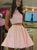 Two Pieces A-line Homecoming Dress Short Pink Homecoming Dresses kmy456