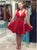 A-line V-neck Short/Mini Taffeta Homecoming Dress Cooktail Dress kmy479