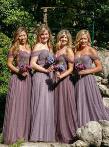Elegant A-line Bridesmaid Dresses Tulle Long Bridesmaid Dresses kmy506