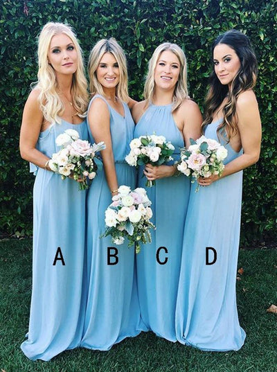 Elegant A-line Bridesmaid Dresses Chiffon Long Bridesmaid Dresses kmy513