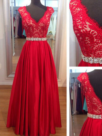 2018 Red Lace Prom Dress V Neck Cheap Long Prom Dress #SP1118 - DemiDress.com