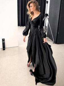 Black Long Sleeve Prom Dress Chic Simple V Neck Prom Gown VB5408