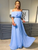Elegant A-line Off the Shoulder Chiffon Long Prom Dresses Blue Formal Dresses VB5448