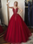 Elegant Tulle Cheap Ball Gown Beaded Burgundy Long Prom Dress VB5450